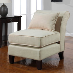 None - Slipper Creme Linen-look Chair - Enhance your home decor with this stylish creme linen slipper chair. With solid wood legs,a popular linen-look upholstery and durable spring seat construction this chair is sure to be a great addition to your home.