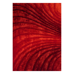 Rug - ~5 ft. x 7 ft. 3-D Red Plush Shag Living Room Hand-tufted Area Rug - 3D SHAG COLLECTION