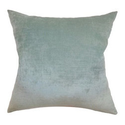 The Pillow Collection Haye Plain Pillow - Aqua - Simple in design, The Pillow Collection Haye Plain Pillow – Aqua brings a hint of sophistication to your living room décor. This solid square pillow is made of 100% velvet and comes with a plush feather-down insert that's made in the USA. It has the same fabric on both sides and features a clean knife-edge finish on all four sides. A hidden zipper is included for easy removal and cleaning. Dry cleaning is recommended.About The Pillow CollectionIdentical twin brothers Adam and Kyle started The Pillow Collection with a simple objective. They wanted to create an extensive selection of beautiful and affordable throw pillows. Their father is a renowned interior designer and they developed a deep appreciation of style from him. They hand select all fabrics to find the perfect cottons, linens, damasks, and silks in a variety of colors, patterns, and designs. Standard features include hidden full-length zippers and luxurious high polyester fiber or down blended inserts. At The Pillow Collection, they know that a throw pillow makes a room.
