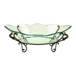ecWorld - Casa Cortes Milan Decorative Centerpiece Glass Bowl with Stand - This artful piece is great decoration on dining tables as well as cocktail and side tables. Translucent glass bowl is cradled in a metal stand and it is an ideal display piece. It's stunning on its own or filled with decorative accents.