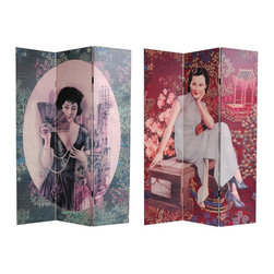 Oriental Furniture - 6 ft. Tall Double Sided Shanghai Ladies Canvas Room Divider - Remarkable reproductions of graphic art designs from pre war Hong Kong, renderings of photo like images of young Chinese women in colonial period dress, photographed with classic turn of the century Shanghai Tang silk embroidery borders and backgrounds, printed onto portable, durable, 3 panel canvas room dividers. Unusual beautiful accent, for contemporary urban interior design and decor. Part shabby chic kitsch, part colorful decorative art, as well as a practical, effective, folding floor screen.