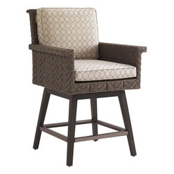 Lexington - Tommy Bahama Blue Olive Swivel Counter Stool - The height of the counter stool was designed specifically to complement the bar. The seat of the is a slightly smaller scale than the dining chair yet remains quite comfortable with the arm rests and tilt of the back cushion. Since the seat swivels, all four foot rests have protective covers in the same color as the aluminum frame.
