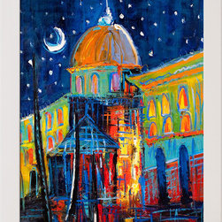 "overstockArt.com - Kopania - Moon - 24"" X 36"" Oil Painting On Canvas Moon is a beautiful painting of a colorful nightscape in the city. Enjoy its beauty and color reproduced as a fine canvas hand painting. Justyna Kopania is from Warszawa, Poland. In her words when she paints she tries to show the 'world', which could be seen by looking at reality that surrounds us, from another perspective, unusual, remote, sometimes through the eyes of the child, sometimes music, composer, or someone who looks lichen on the sea, the moon , the sky and the stars ..., the river ... looks out the window and looks out into the street. Walking down the street looking at people's faces. In rain, snow or fog. Perhaps the world that surrounds us really is quite different than we perceive it every day."