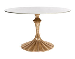 Kathy Kuo Home - Gold Fluted Base White Marble Hollywood Regency Dining Table - While this table packs enough sophistication and glamor to very easily work into a Hollywood Regency look, there are other angles this noteworthy piece could also embrace.  We can see it in a Parisian Art Nouveau apartment or even an eclectic/exotic Art Deco space.  However you use it, style and imagination take flight.