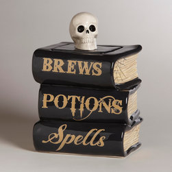 Spell Book Treat Jar - I love that this treat jar is disguised as books!