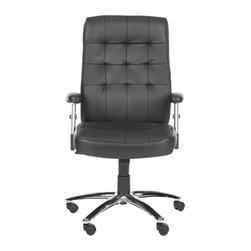 Safavieh - Kingston Desk Chair - Gone are the days when you leave your unfinished project in the cubicle. The Kingston Desk Chair brings contemporary style to the study or home office with an adjustable seat, rubber wheels and upholstery of leather and PVC. Kingston's comfy armrests and cushions place it in the executive class.