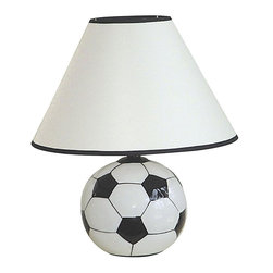 ORE International - 12 in. Accent Lamp w Ceramic Soccer Ball Base - Requires 1 standard 60W bulb (bulb not included). UL listed. Soccer ball theme . Black trim both the top and bottom of the shades. White linen shade . Black and White finish. 10 in. L x 10 in. W x 12 in. H (3 lbs.)This table lamp is perfect for any sports fan. Sporty, playful and contemporary table lamp will be a great addition to any sport fan's decor. Ideal in a rec room or dorm room.