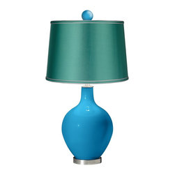 """Color Plus - Contemporary River Blue - Satin Sea Green Ovo Lamp with Color Finial - Bright and bold this designer color River Blue glass table lamp is a fantastic way to add a splash of color to your home decor. The design is hand-crafted by experienced artisans in our California workshops and features a matching color ball finial at the top. The look is finished off with a specially-selected sea green satin drum shade and brushed steel finish accents. River Blue designer glass table lamp. Matching color ball finial. Sea green satin drum shade. Brushed steel finish accents. From the Color + Plus™ lighting collection. Maximum 150 watt or equivalent bulb (not included). 30 1/2"""" high. Shade is 14"""" across the top 16"""" across the bottom 11"""" high. Finial is 2 1/2"""" wide 3"""" high. Base is 6"""" wide.  River Blue designer glass table lamp.  Matching color ball finial.  Sea green satin drum shade.  Brushed steel finish accents.  From the Color + Plus™ lighting collection.  Maximum 150 watt or equivalent bulb (not included).  30 1/2"""" high.  Shade is 14"""" across the top 16"""" across the bottom 11"""" high.  Finial is 2 1/2"""" wide 3"""" high.  Base is 6"""" wide."""
