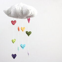 Heart Rainbow Cloud Mobile Showered by Baby Jives - Rain some love down on the room with this fabric mobile.