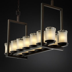 Justice Design Group - Justice Design Group GLA-8769 Dakota 14 Light Short Bridge Chandelier V - Justice Design Group GLA-8769 Dakota 14 Light Short Bridge Chandelier from the Veneto Luce CollectionThe Veneto Luce� Collection is Justice Design Group, LLC's new collection incorporating handcrafted glass shades. Each glass shade is truly a work of art, created by artisans in the historic city of Venice, Italy, where glass-making has been an art form for more than 700 years.From an elegant lamp atop a contemporary end table to a dramatic sconce illuminating a formal entryway, Justice Design offers a wide array of lighting solutions for residential and commercial settings. Create a mood, complement a theme, or simply add the perfect accent with a Justice Design decorative lighting fixture.