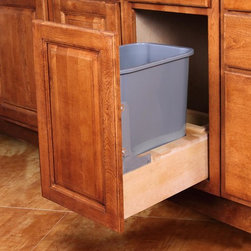 """Single Pullout Waste Basket For A 15"""" Wide Base Cabinet - Single waste basket pull out accessory to be installed in a 15"""" wide base cabinet (15"""" base cabinet must be purchased separately). One waste basket is included and the pull out comes fully assembled with cabinet mounting instructions. The tracks on the pull out are soft-close.Assembly Instructions"""