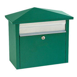 None - Green Wall- or Post-mount Mail House Mailbox - This Salsbury 4700 series mail house is constructed of electro-galvanized 20-gauge steel.  This mail box can be posted on a wall or a post.