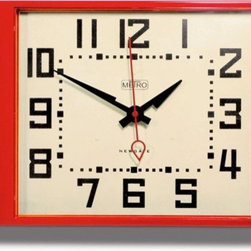 newgate - Metro Clock  - Barn Light Electric - This retro wall clock has a glossy acrylic case that gives it's vintage design a quirky modern twist. Available in red or black this square clock has a fun design, great for your kitchen or study.