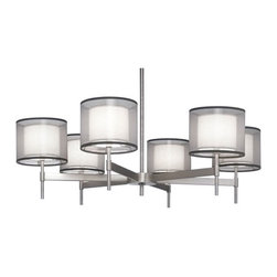 Robert Abbey - Saturnia Chandelier - Saturnia chandelier features a bronze or silver transparent fabric exterior shade with an ascot white fabric interior shade. Silver transparent fabric exterior shade features a stainless steel finish. Bronze transparent fabric exterior features a deep patina bronze finish. Available in a wall sconce, ceiling flush mount, table lamp, floor lamp, pendant and chandelier version. Direct wire only. Includes suspension hardware of 3 pieces of 0.63 x 12 inches, and 1 piece of 0.63 x 6 inch extension rods. Six 60 watt, 120 volt, G16.5 candelabra base incandescent lamps not included. General light distribution. Overall height adjusts 21.51 inches. 40W x 12.25H.
