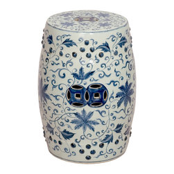 Kathy Kuo Home - Round Blue and White Lotus Flowers Ceramic Garden Stool Seat - Traditionally used in China as tea tables-these garden stools make a perfect addition to your living space as side tables, or clustered together to be used as a coffee table. Glazes are triple fired for added luster and shine. With a hand made product, glaze variations of up to 10% is to be expected.