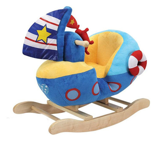 "Charm Co. - Sailboat Rocker - The Sailboat Plush Rocker is a great playmate for your little toddler who wants to sail or become a sailor. Our little boat with a padded seat has a bright blue plush body with life preserver, sail and steering wheel. Sail boat is made of a super soft plush that has the feel of a baby blanket. All hands on deck! This rocker is designed with toddlers in mind and makes a great ""first"" toy with its soft plush body and ""low to the ground"" height that will give smaller children a safe and comfortable ride. All are made with a sturdy solid wood base, wooden handles, and easy to clean plush."