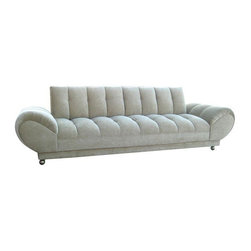 "Used Low Tufted Roll Arm Sofa - You'll find us swooning at the corner of style and comfort. This unique and fabulous sofa is comfortable both to sit or to lay down on. No need for pillows...the armrests are very soft head rests! Seat height is 16""."