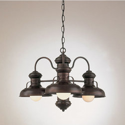 Hi-Lite - Three-Light Chandelier - Give your room a touch of charm with this unique American-made chandelier.  It boasts a warm Rosewood finish that accentuates the graceful curves and clean lines of this masterpiece.  You will appreciate how this beautiful piece also gives you great direct light so you can complete kitchen tasks with ease.     Hi-Lite - H-7163-D-77