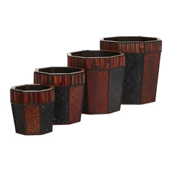 Nearly Natural - Bamboo Octagon Decorative Planters (Set of 4) - This set of four island inspired hexagon planters (with two contrasting patterns) is perfect for any decor. Enjoy the vibrant burgundy and earth colored cross hatching set next to the light charcoal colored flower pattern framed against a darker background while separated with dark segmented trim. All resting under a ring of thick reddish brown bamboo panels! Absolutely perfect for holding our tropical-inspired arrangements, or to admire on their own.