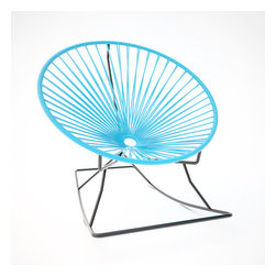 Innit Rocker, Blue Weave On Black Frame - Metal and vinyl come together seamlessly to form this comfy rocking chair made for indoor or outdoor use. The hoop shape creates a supportive place to rest, and the metal base keeps you rocking for added relaxation. It's available in multiple colors to match your every decor need or whim.
