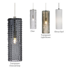 LBL Lighting - Arik - LED Mini Pendant Lamp | LBL - LBL Lighting Arik�LED Mini Pendant Lamp features�opal or transparent glass shade with a half-spherical matrix pattern. Color options include glossy opal, clear, transparent light brown, and transparent charcoal gray. Includes 6 ft. of field-cuttable suspension cable. � Canopy Options:- Fusion Jack, Monorail, 2-Circuit Monorail Canopies are not included. To purchase a canopy for these options please contact us.- Monopoint canopy is included � Manufacturer:�LBL LightingSize:�3 in. diameter x 11.5 in. height x 72 in. cuttable suspension cable. Light Source:� Glossy Opal includes: 1 x 50 watt low voltage, GY6.35 base Xenon bi-pin lamp 24V transformers or 1 x 6 watt LED module (not compatible with 24V transformers) - included OR Transparent Colors include: 1 x 35 watt low-voltage GY6.35 base Xenon bi-pin lamp Certifications: ETL Location:�Dry