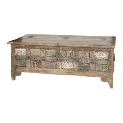 Wooden Trunk with Carved Panels - Wooden Trunk with Carved Panels