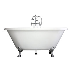 "Baths of Distinction - Hotel Collection 67"" Double Ended Clawfoot Bathtub/Faucet Package - Package consists of a beautiful 67 double ended clawfoot bathtub along with hardware including faucet with handheld shower, drain with lift off stopper, straight supply lines and claw feet all in chrome.  Bathtub is made of CoreAcryl acrylic with a resin/powdered stone filler.  Bathtub has a built in aluminum hear barrier within the tub body.  This is a great deep soaking bathtub."