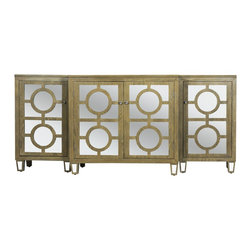 Worlds Away - Worlds Away 3-Piece Limed Oak and Mirror Top Buffet AVA LIO - Worlds Away 3-Piece Limed Oak Buffet and Mirror Inset Top AVA LIO
