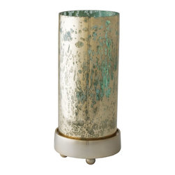 Lazy Susan - Lazy Susan LZS-468003 Gilded Sea Hurricane - Small - Tall and distinct, this candle holder strikes a captivating stance. It's made from blue glass and features a mercury finish. Your room will glisten with light from this gilded beauty.