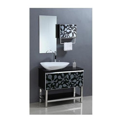 Legion Furniture - 35.5 in. Solid Wood Vanity Set in Black and White Finish - Includes vanity, mirror and mirror cabinet. Faucet not included. Pre-drilled with one hole for one slot faucet. Any faucet, 6 in. and higher, will fit this sink. Comes with a drain in chrome finish. Tempered glass top. White ceramic sink. Made from wood. Minimal assembly required. Mirror: 33.5 in. W x 31.5 in. H. Vanity: 35.4 in. W x 15.7 in. D x 34 in. H. Specification sheet