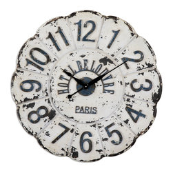 Uttermost - De Louvre White Wall Clock - If you left your heart in Paris, bring a little of it back home with this gorgeous antique clock. Every time you check the time, you'll think about when you scavenged the flea markets looking for just this clock. And, here it is.