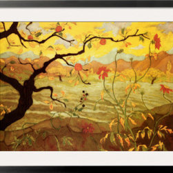 Artcom - Apple Tree with Red Fruit, C.1902 by Paul Ranson - Apple Tree with Red Fruit, C.1902 by Paul Ranson is a Framed Art Print set with a SOHO Black wood frame and a Crisp - Bright White mat.