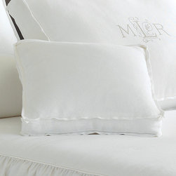 Frontgate - Leonara Accent Pillow - Made by Eastern Accents. 100% linen. Choose from natural or crisp white. Dry clean only recommended. Because this bedding is specially made to order, please allow 4-6 weeks for delivery.. No textile will bring beauty, comfort, and organic texture to life like our Leonara Linen Bedding Collection. Embellished with quietly sophisticated details, Leonara possesses the charming air of the English countryside.  .  .  .  . . Fabrics woven in Italy; sewn in the U.S.A. Part of the Leonara Linen Bedding Collection.