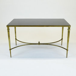 Gold Finish Cocktail Table with Black Stone Top by Global Views - Dimensions:L 36''  × W 20''  × H 20''