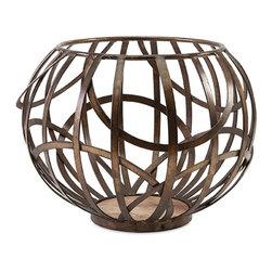 "Imax - Hapak Iron Pillar Candle Bowl - *Dimensions: 12""h x 16""d"
