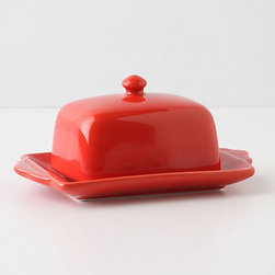 Tea And Toast Butter Dish, Bright Red - Remember way back when people didn't worry about things like leaving butter out all day on the kitchen counter? I grew up with a pig butter dish sitting on mine, but this one will do for my kitchen.