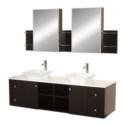 "Wyndham - Avara 72"" Wall-Mounted Double Bathroom Vanity Set - Espresso - Make a statement with the Avara double vanity, and add a twist of the transitional to an otherwise modern classic.; The Avara is the perfect centerpiece to any master bathroom suite, featuring Blum soft close hinges and Blum soft close drawer guides. You'll never hear a door or drawer slam shut again!; Espresso Finish; Counter: White Stone; Includes white porcelain sink; Includes drain assemblies and P-traps for easy assembly; Includes medicine cabinet mirrors and side shelves; Faucets not included; Dimensions: Vanity 72 x 22-1/4 x 24.5 (including sink); Side Shelves 8-3/4 x 5 x 12; Medic Cab Mirrors 21 x 5-3/4 x 30"