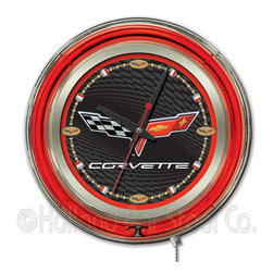 Holland Bar Stool - Holland Bar Stool Clk15C6BKRD Corvette - C6 Neon Clock - Clk15C6BKRD Corvette - C6 Neon Clock belongs to General Motors Collection by Holland Bar Stool Our neon-accented Logo Clocks are the perfect piece for any Corvette - C6 fan. Chrome casing and a red neon ring accent a custom printed clock face, lit up by an brilliant white, inner neon ring. Neon ring is easily turned on and off with a pull chain on the bottom of the clock, saving you the hassle of plugging it in and unplugging it. Accurate quartz movement is powered by a single, AA battery (not included). Whether purchasing as a gift for your favorite Corvette collector or for yourself, you can take satisfaction knowing you're buying a clock that is proudly made by the Holland Bar Stool Company, Holland, MI. Clock (1)