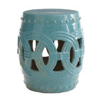 Interlocking Rings Stool - Whether you use this inside or out, the stunning cerulean blue of this Chinese garden stool will remind you of the sea. Perfect as a side table to hold a drink, a magazine, a book or a beautiful orchid.