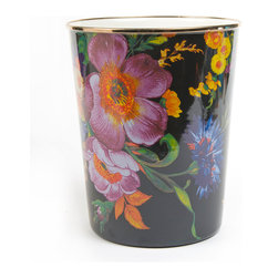 "MacKenzie-Childs - Flower Market Enamel Waste Bin - MULTI COLORS - MacKenzie-ChildsFlower Market Enamel Waste BinDetailsHandcrafted waste bin.Heavy-gauge hand-glazed steel underbody.Bronzed stainless steel rim.Embellished with hand-applied floral transfers.Hand wash.8""Dia. x 9.5""T.Imported.Designer About MacKenzie-Childs:Established in 1983 MacKenzie-Childs combines vibrant colors and patterns to create a whimsical collection of tableware furniture and decorative accessories that epitomize ""tradition with a twist."" The company's designers draw inspiration from the pastoral setting of their studios located on a 65-acre former dairy farm in Aurora New York."