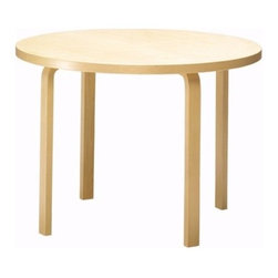"""Artek - 90B Table - Features: -Table collection. -L-legs birch, natural lacquered. -Includes three legs. -Coating options: Natural lacquered, white laminate, black linoleum. -Table top edge birch, natural lacquered. -1.6"""" thickness table top. -Assembly required. -Table top dimensions: 29.53"""" W x 29.53"""" D. -Overall dimensions: 28.3"""" H x 29.5"""" W x 29.5"""" D."""