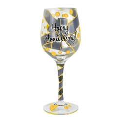 Westland - 9 Inch Happy Anniversary Multi-Colored 15 Oz Wine Glass with Ribbon - This gorgeous 9 Inch Happy Anniversary Multi-Colored 15 Oz Wine Glass with Ribbon has the finest details and highest quality you will find anywhere! 9 Inch Happy Anniversary Multi-Colored 15 Oz Wine Glass with Ribbon is truly remarkable.