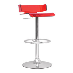 "Chintaly Imports - Red/Chrome Pneumatic Gas Lift Adjustable Height Swivel Stool - Gloss chrome adjustable height swivel acrylic stool. Seat height adjusts from 21""-30"". It has a chrome base and full ring footrest. It is available in Grey, Red or Smoked transparent acrylic."