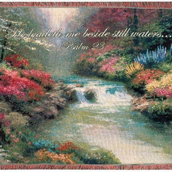 Manual - Thomas Kinkade Beside Still Waters Tapestry Throw Blanket 50 Inch x 60 Inch - This multicolored woven tapestry throw blanket is a wonderful addition to any home. Made of cotton, the blanket measures 50 inches wide, 60 inches long, and has approximately 1 1/2 inches of fringe around the border. The blanket features a depiction of Thomas Kinkade's 'Beside Still Waters', with the Bible verse 'He leadeth me beside still waters... Psalm 23' printed underneath. Care instructions are to machine wash in cold water on a delicate cycle, tumble dry on low heat, wash with dark colors separately, and do not bleach. This comfy blanket makes a great gift for friends and family.