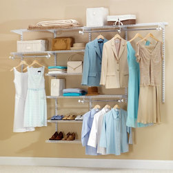 """Rubbermaid - Rubbermaid Configurations 4 - 8 ft. White Deluxe Closet Kit - FG3H8900WHT - 2180 - Shop for Closet from Hayneedle.com! Turn any reach-in or walk-in closet into the expansive closet of your dreams with the Rubbermaid Configurations 4-8 ft. White Deluxe Closet Kit - FG3H8900WHT. This pristine white-finished kit is great for organizing your closet according to season work leisure or fashion. It features telescoping rods and expandable shelves deserving of the name deluxe that can provide up to 20 feet of shelving space and 12 feet of hanging space. You'll be mesmerized by what your closet is capable of holding when you use this top of the line organizer.Pieces IncludedSeven 26-inch shelvesTwo 48-inch shelvesTwo 48-inch top rails19 bracketsFive 47.5-inch uprightsTwo 25-inch upright extensions2 hang rodsAbout RubbermaidRubbermaid represents innovative high-quality products that make life a little simpler. Starting with housewares Rubbermaid has expanding into various areas including home and garden and commercial products. Rubbermaid has been recognized as a """"Brand of the Century"""" and is one of only 100 companies named as having an impact on the American way of life. Headquartered in Atlanta GA. Rubbermaid can be found almost anywhere from grocery stores to hardware stores to your own kitchen.Being involved in the local community is a cornerstone of the Rubbermaid company and they continually invest in programs that matter to employees and enrich the lives of everyone from child to adult."""