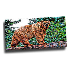 Brown Bear - Animal Canvas Art, 32W x 16H, 1 Panel - This animal artwork is a gallery wrapped canvas piece. This design is printed in high quality fade resistant ink on premium quality cotton canvas.