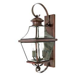 Quoizel Lighting - Quoizel CAR8729AC Carleton 3 Light Outdoor Wall Light, Aged Copper - Long Description: The historical design of the Carleton outdoor fixture will bring a handsome colonial appeal to your home. The antique style solid copper, square tapered frame with a curved top eloquently displays the clear beveled glass, adding an elegant touch to the light.
