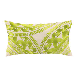 "Trina Turk - Trina Turk Tribal Green Embroidered Pillow - An exotic labrynth-style pattern sweeps across the Tribal throw pillow creating a bold modern accent. Embroidered in lime green, this vibrant decorative pillow adds a blaze of color to a sofa or chair. 26""W x 14""H; 100% linen pillow with embroidered detail; Down fill insert included; Hidden zipper; Dry clean only"