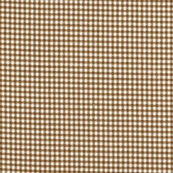 "Close to Custom Linens - 22"" Twin Bedskirt Tailored Suede Brown Gingham Check - A small gingham check in suede brown on a cream background."