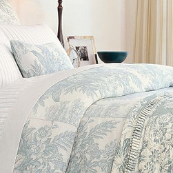 Matine Toile Duvet Cover, Full/Queen, Dark Porcelain Blue - Layered with solids or stripes, our traditional French toile bedding offers the versatility of a neutral pattern. Linen-cotton blend. Duvet cover has a hidden button closure and interior ties to keep the duvet in place. Sham has an envelope closure; insert is sold separately. The decorative pillows shown are no longer available. Machine wash. Catalog / Internet Only. Imported.